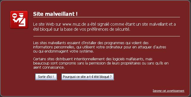 Blocage Firefox pour muz.de
